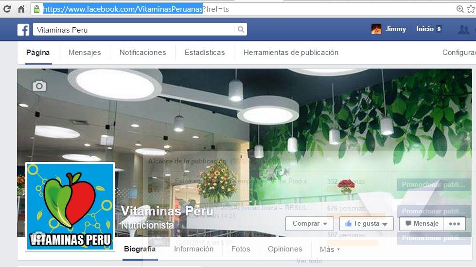 Vitaminas Peru en Facebook